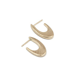 handmade matte recycled 14k yellow gold hoop earrings MGG Studio