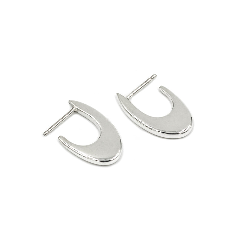 handmade polished recycled sterling silver hoop earrings MGG Studio