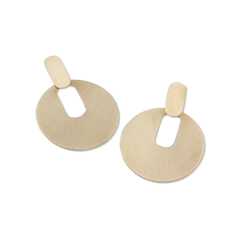 handmade modern statement earrings in brass by MGG Studio