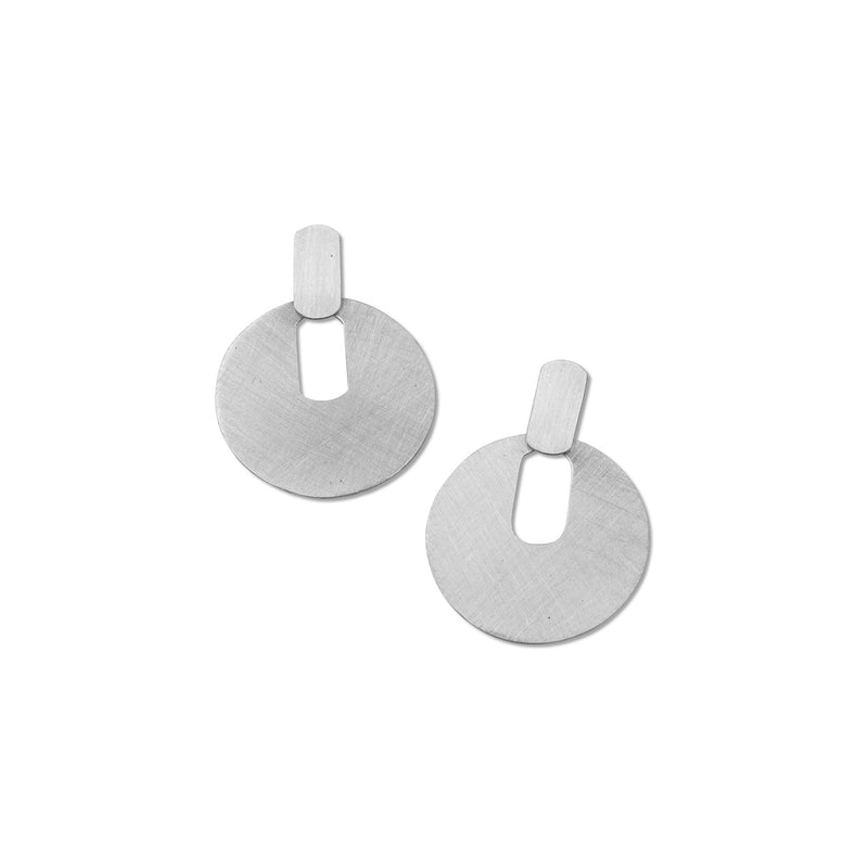 modern everyday circle earring in brushed sterling silver from MGG Studio
