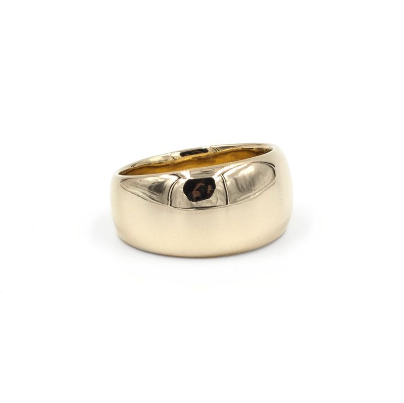 handmade wide tapered polished bronze band from MGG Studio
