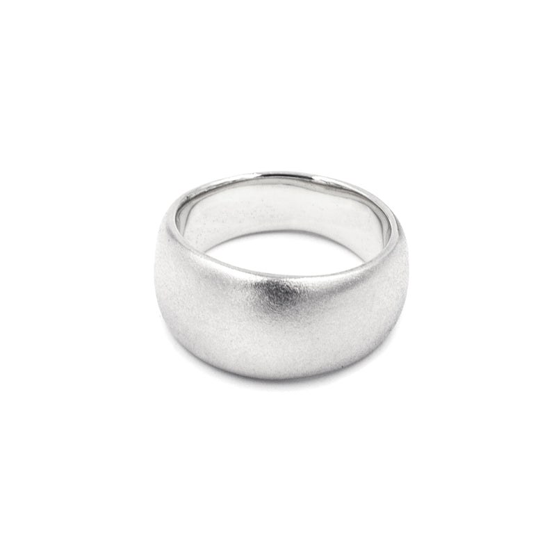 handmade wide tapered matte silver band from MGG Studio