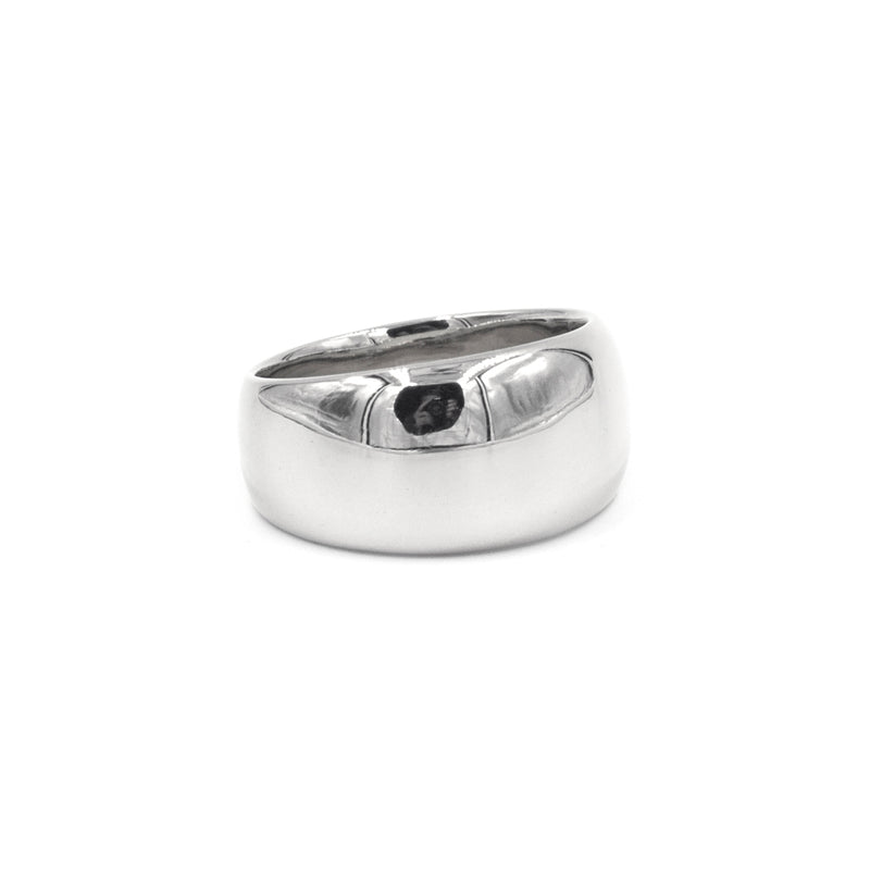 handmade wide tapered polished silver band from MGG Studio