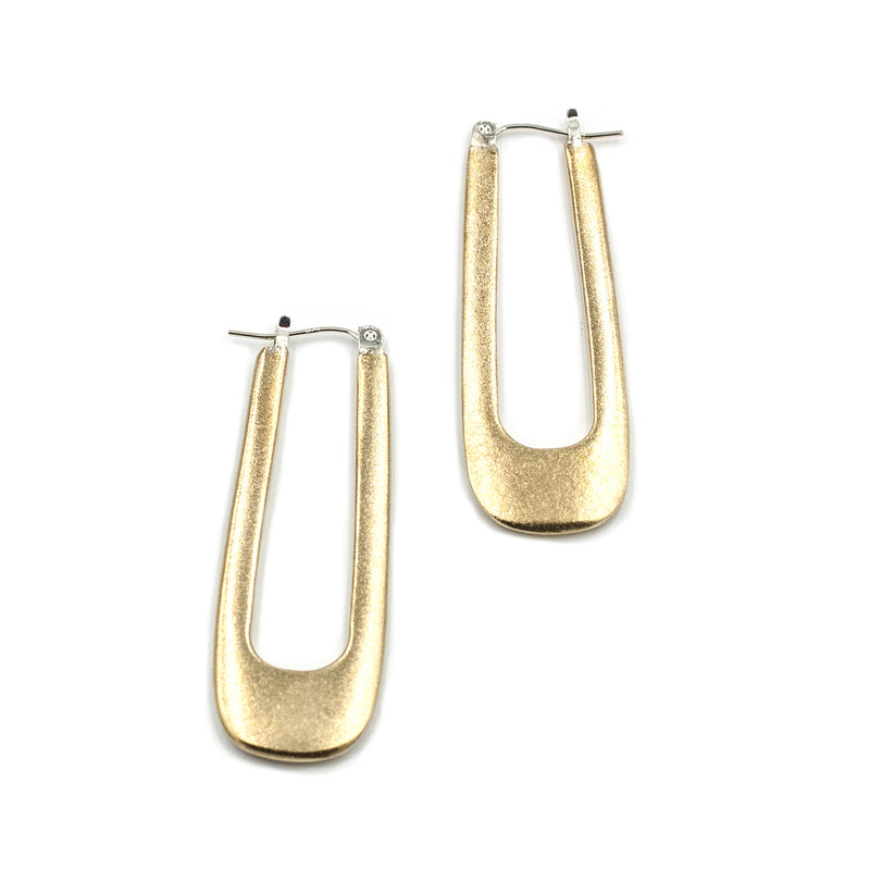 handmade matte brass long squared hoop from MGG studio
