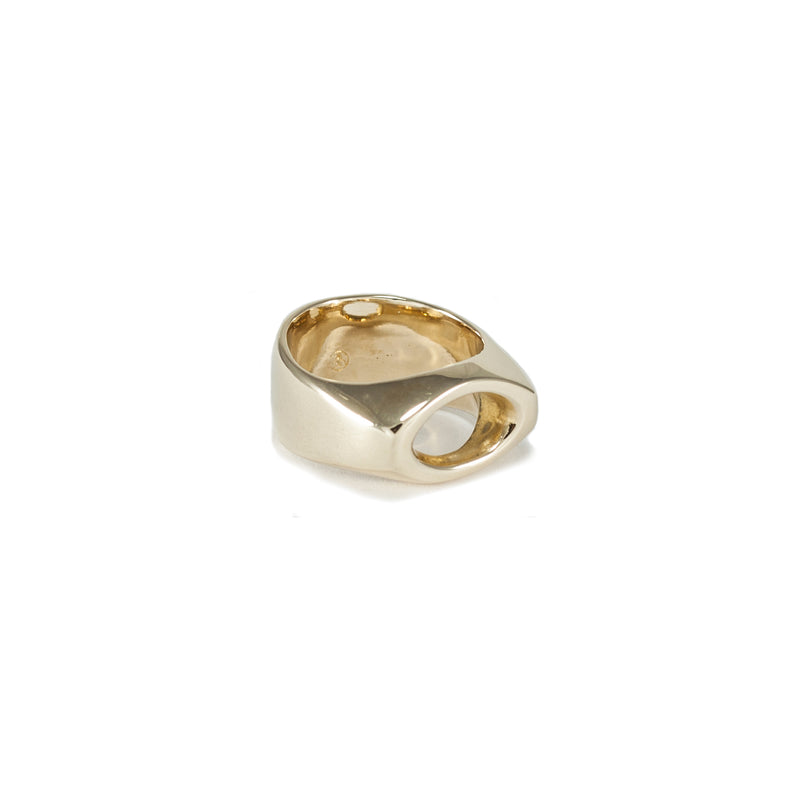 golden bronze statement ring handmade by MGG Studio