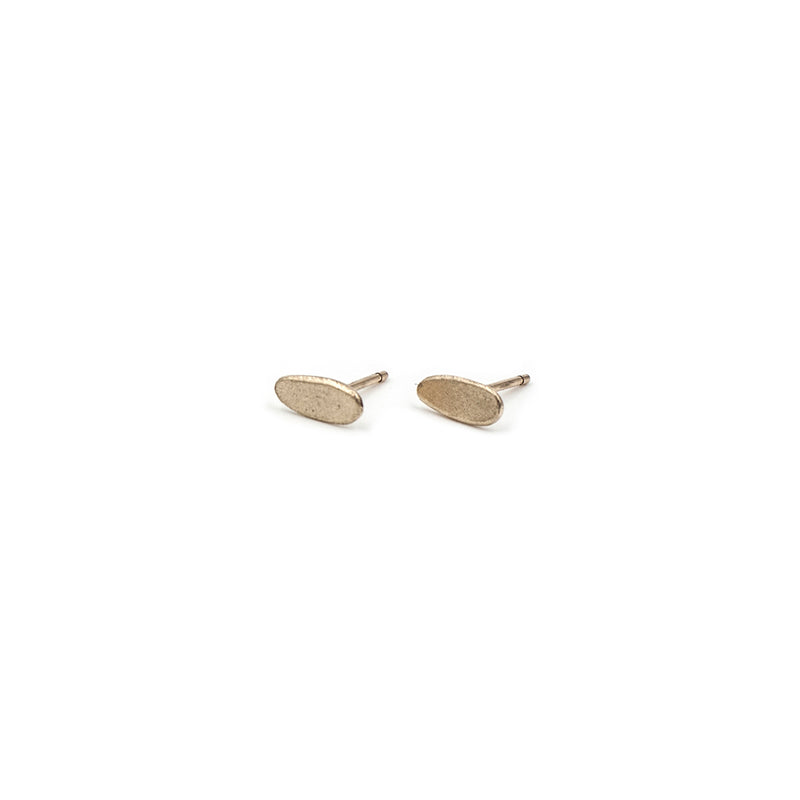 handmade matte recycled 14k yellow gold wabi sabi gold studs from MGG Studio