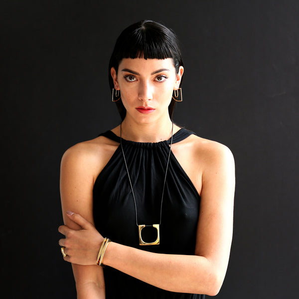 long geometric statement necklace handmade in California by MGG Studio
