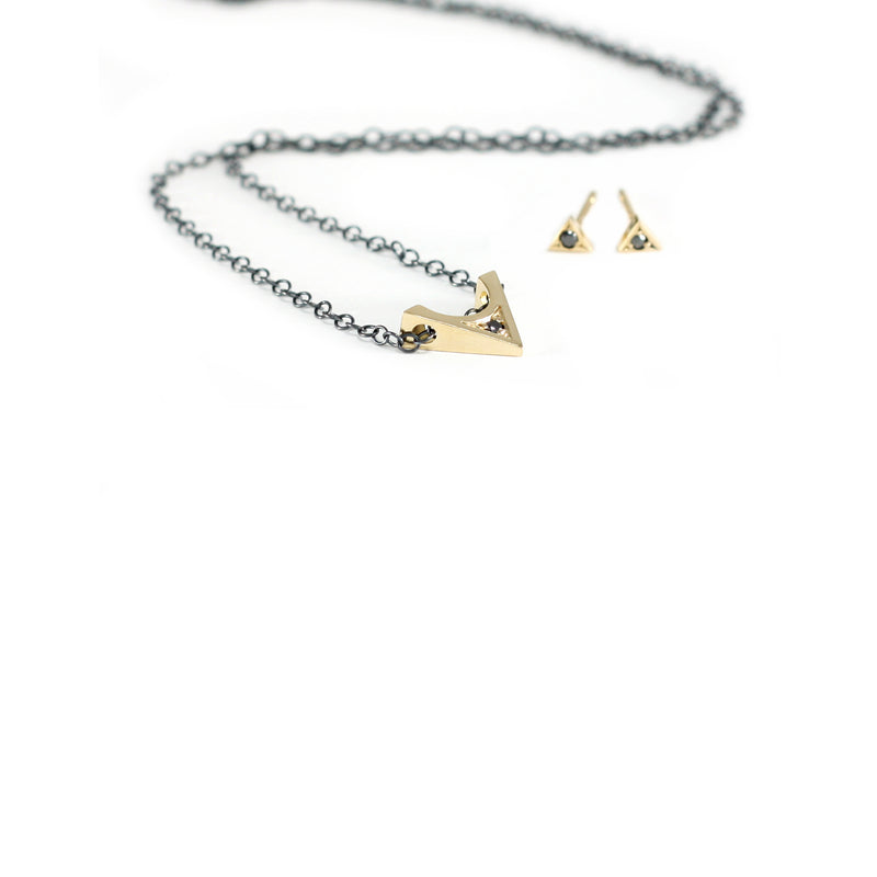 14k gold and black diamond STELLA necklace and STELLE earrings from MGG Studio