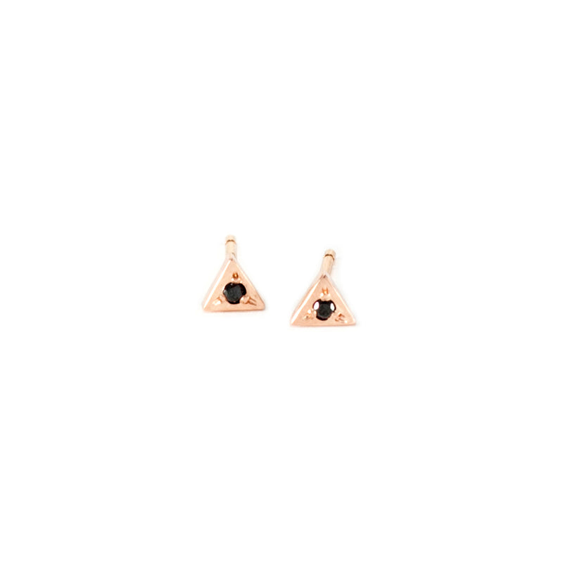 MGG Studio STELLE 14k gold and black diamond studs
