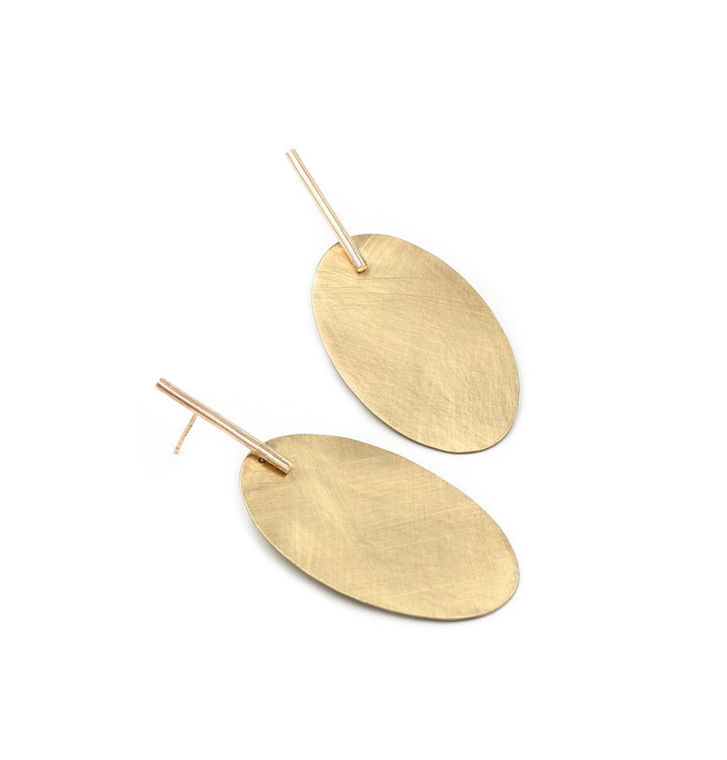 handmade brass oval drop earrings from MGG Studio