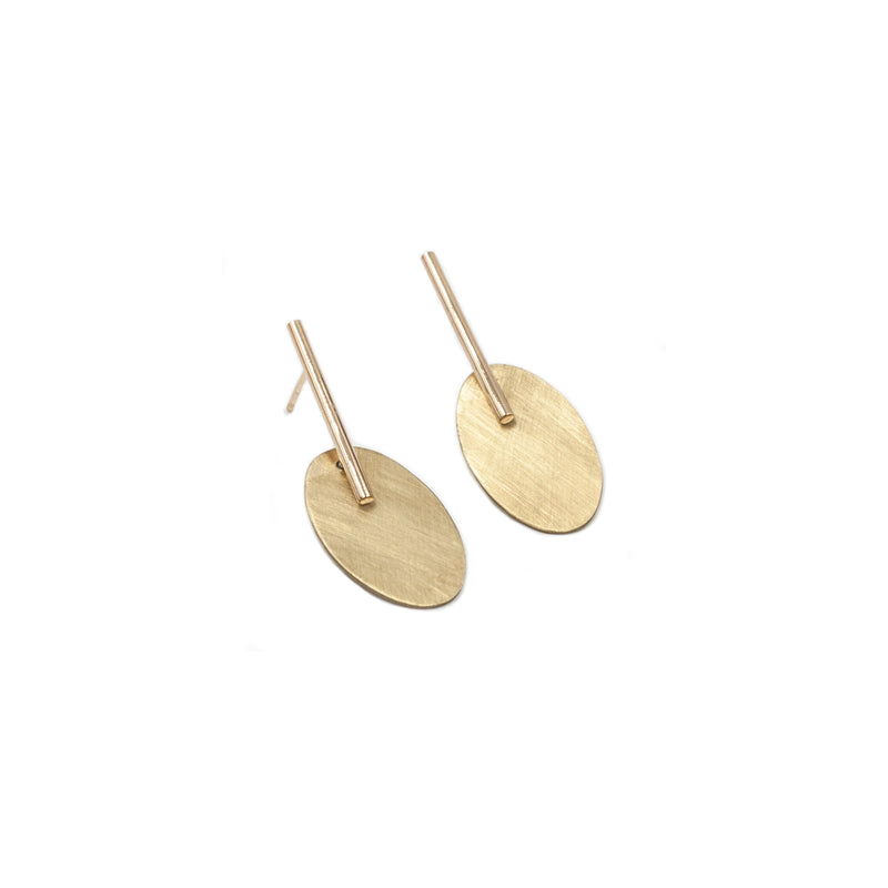 small handmade brass oval drop earrings from MGG Studio