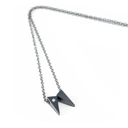 MGG Studio TESSON necklace in oxidized silver with white diamond