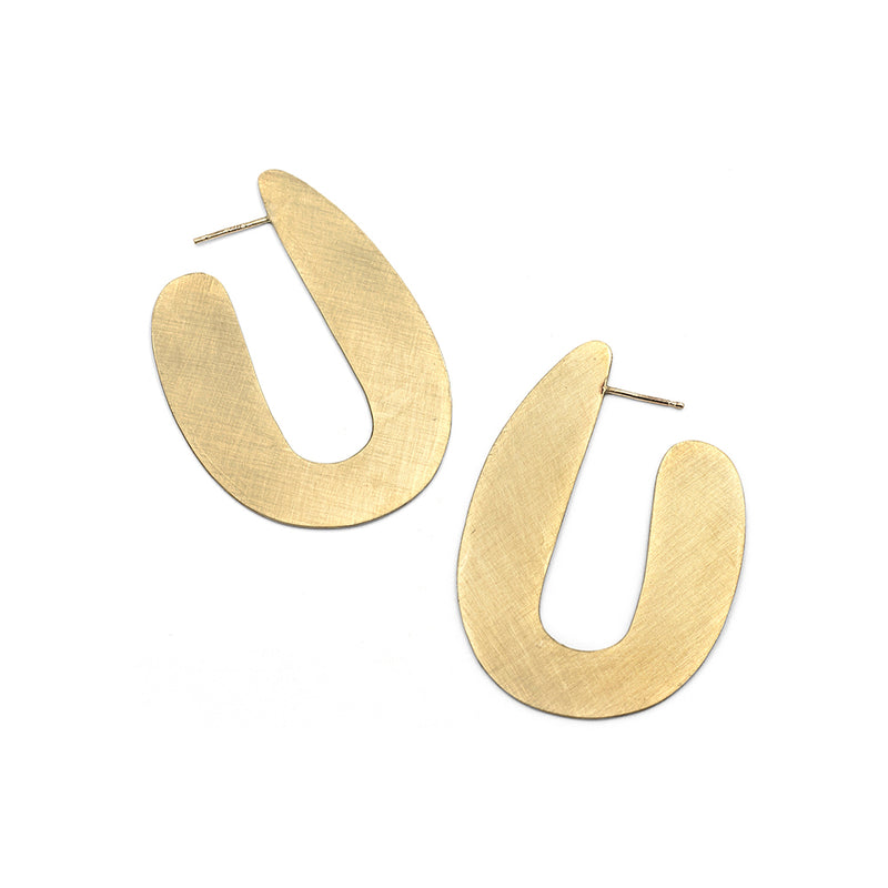 VASO large brushed brass modern post earrings from MGG Studio