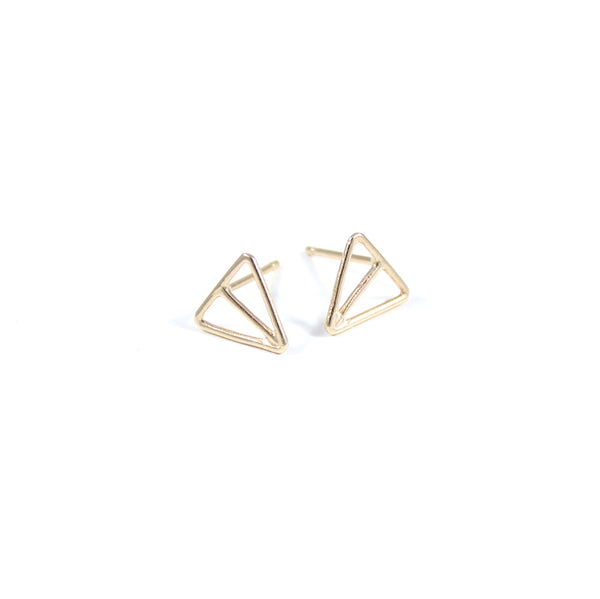 VELOS 14k gold triangle studs