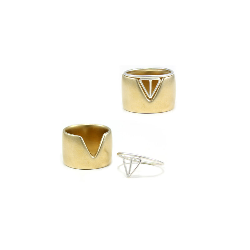 VERTEX band ring in bronze with VELOS stacking ring in sterling silver from MGG Studio