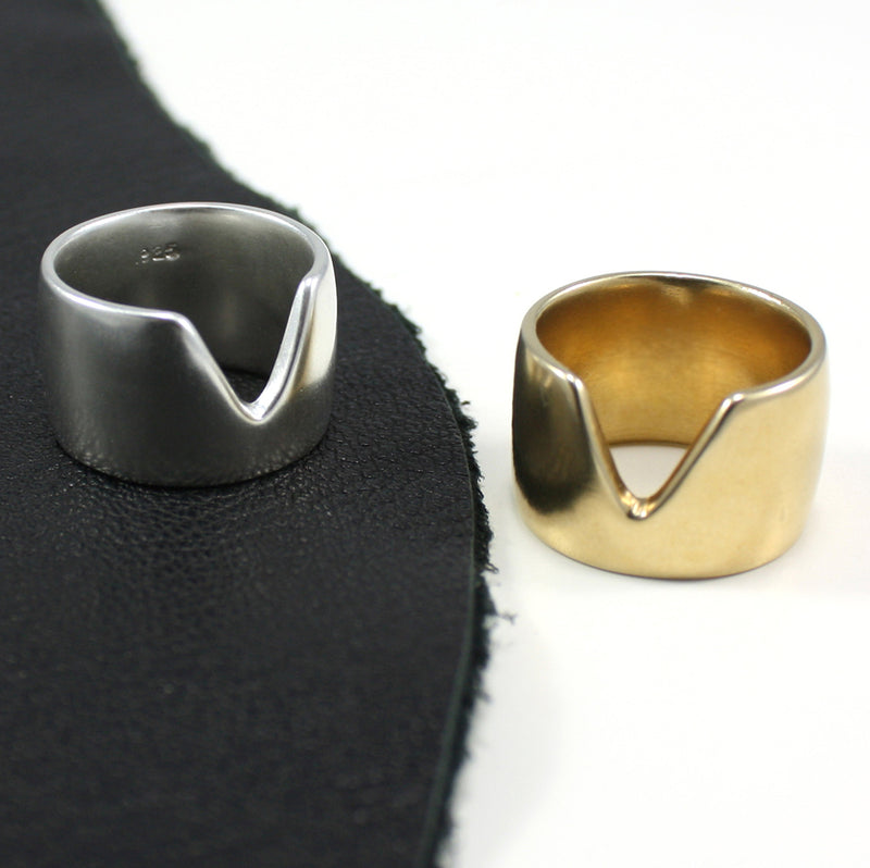 VERTEX band rings in silver and bronze