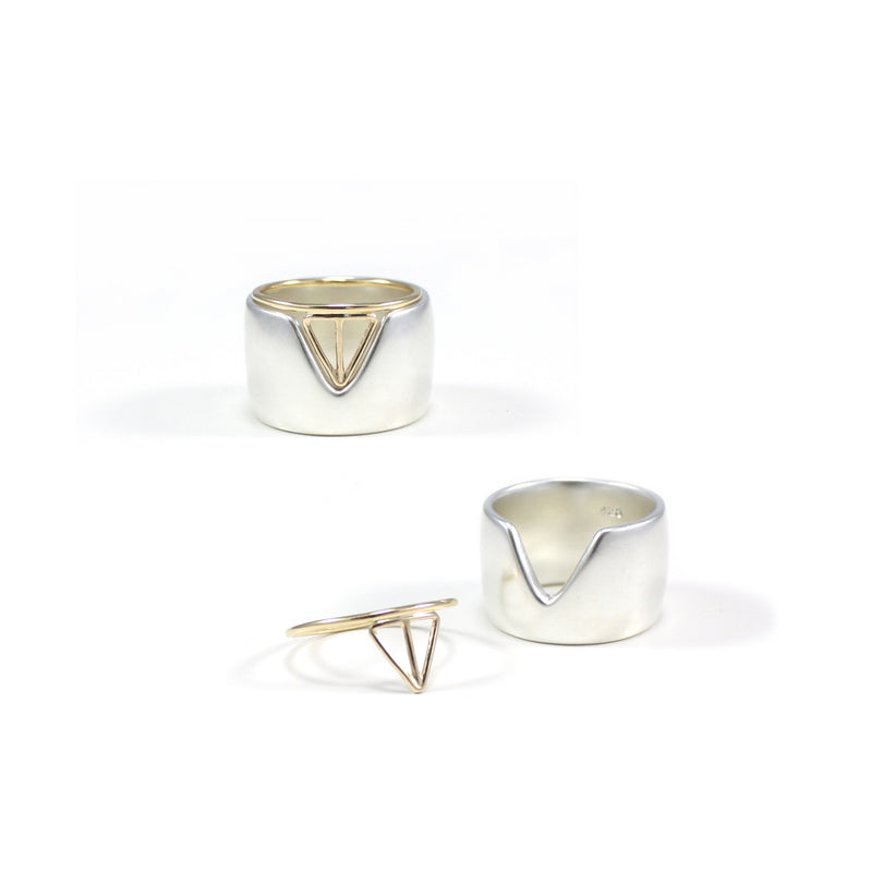 VERTEX recycled silver band ring with VELOS stacker in 14k gold from MGG Studio
