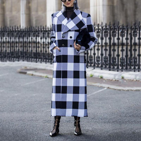 Casual Lapel Double Buckle Plaid Overcoat