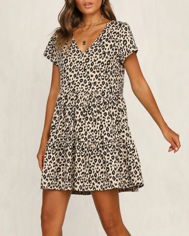 Fashion Sexy V-Neck Leopard   Print Ruffled Dress