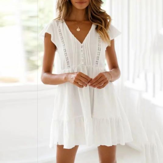 Fashion V-Neck Short-Sleeved   Single-Breasted Lace Maxi Dress