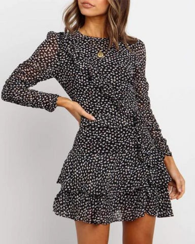 Fashion Round Neck Long Sleeve Print Dress