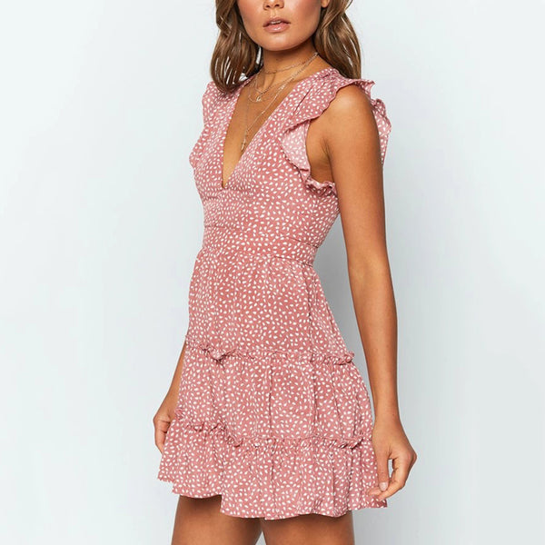 Glamorous V Neck Ruffled Mini Dress