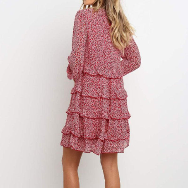 Sweet Round Neck Floral Pleated Mini Dress