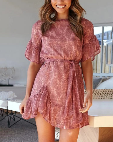 Round Neck Printed Loose Mini Dress