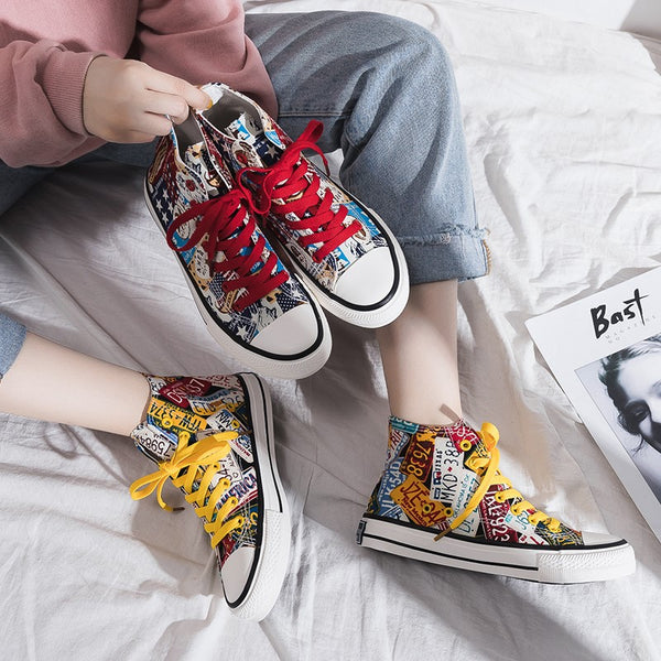 Women's Fashion Casual Hand-Painted Canvas Sneakers