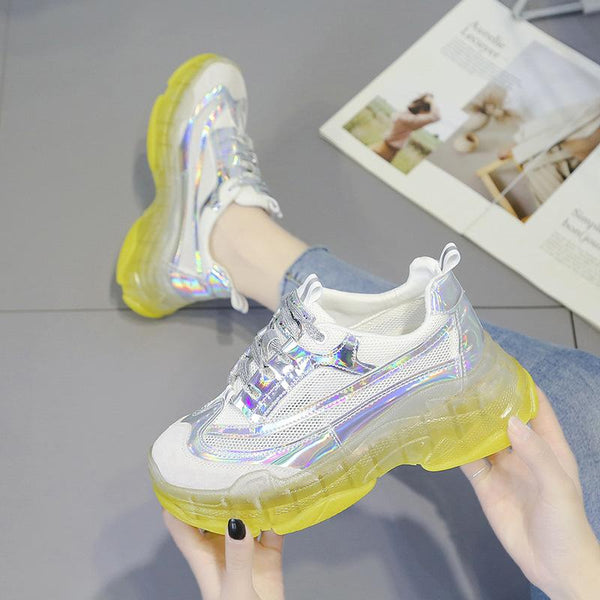 Thick-Soled Crystal Jelly Women Colouring Sneakers
