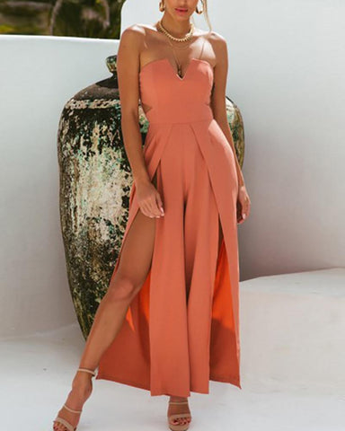 Casual Off-Shoulder Pure Colour Sleeveless Playsuits