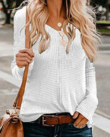Sexy V-Neck Solid Color Long Sleeve Sweaters
