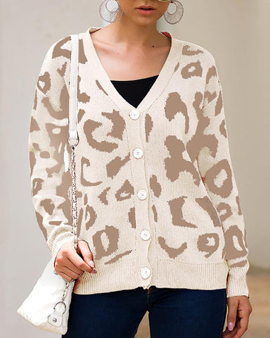 Casual Tricolor Leopard Print Long Sleeve Sweaters