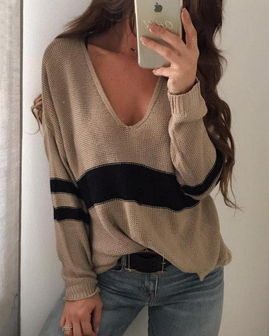 College Wind V-Neck Split-Striped Sweaters