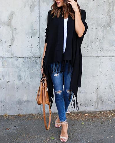 Casual Long Sleeve Knitted Tassels Sweaters