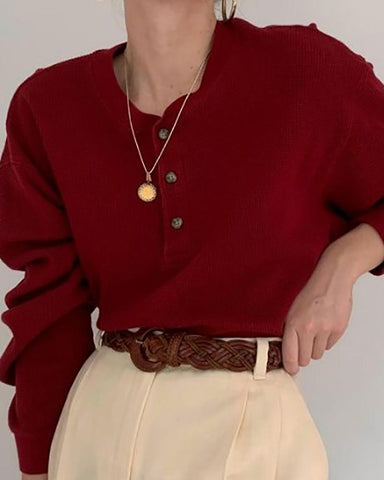 Casual Buckle Collar Long Sleeve Solid Color Sweaters