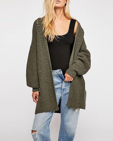 Casual Cage Sleeve Loose Cardigan Sweaters