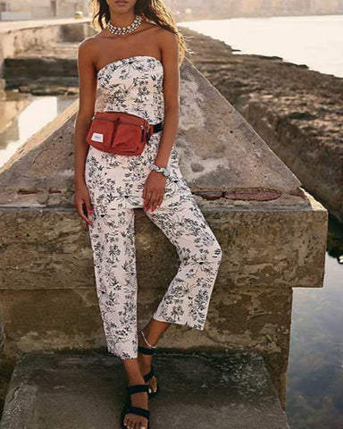 Fashion Casual Spaghetti Strap Print Jumpsuit