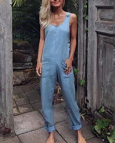 Fashion Solid Color Sleeveless Jumpsuits