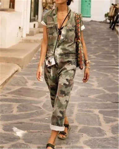 Casual Short Sleeve Camouflage Printed Jumpsuit
