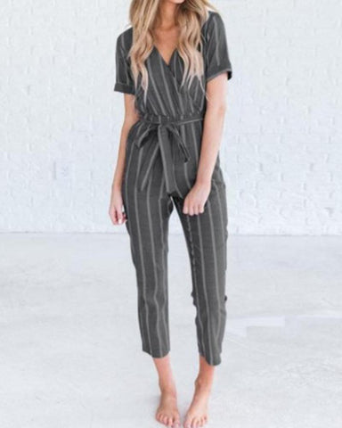 Fashion Casual Striped V-Neck Short Sleeves Jumpsuit