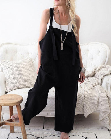 Fashion Casual Loose Slit Pockets Jumpsuit