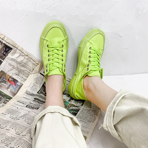 Women's Casual Wild Solid Color Flat Canvas Sneakers