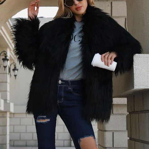 Fashion Leisure Solid Color Long Sleeved Plush Coat