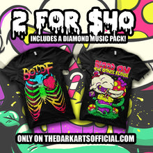 Load image into Gallery viewer, Rare Super Boo Original Tee & BOTDF Neon Ribcage! - thedarkarts