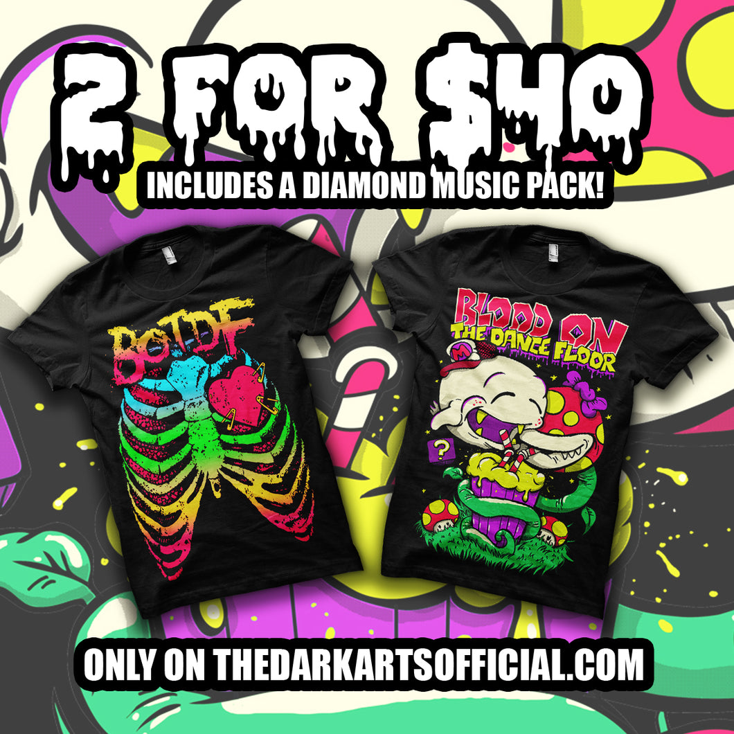 Rare Super Boo Original Tee & BOTDF Neon Ribcage! (FREE DIAMOND MUSIC PACK INCLUDED) - thedarkarts