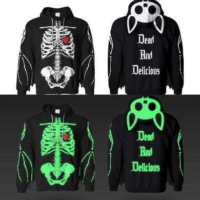 Dead And Delicious Zip Up Bat Wing Glow In The Dark Ribcage Hoodie With Bat Ears! (FREE BOTDF ANTHOLOGY 6 ALBUM INCLUDED) - thedarkarts
