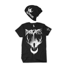 "Load image into Gallery viewer, NEW! ""DARK ARTS"" Silver And Cold Hologram Shirt & Black Beanie Duo - thedarkarts"