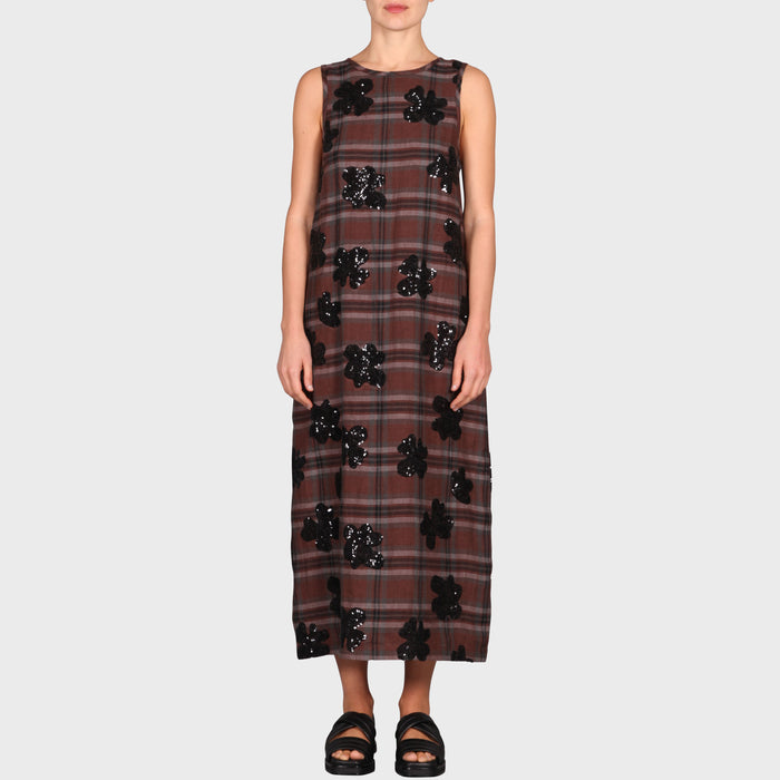 MINA DRESS / BROWN-BLACK