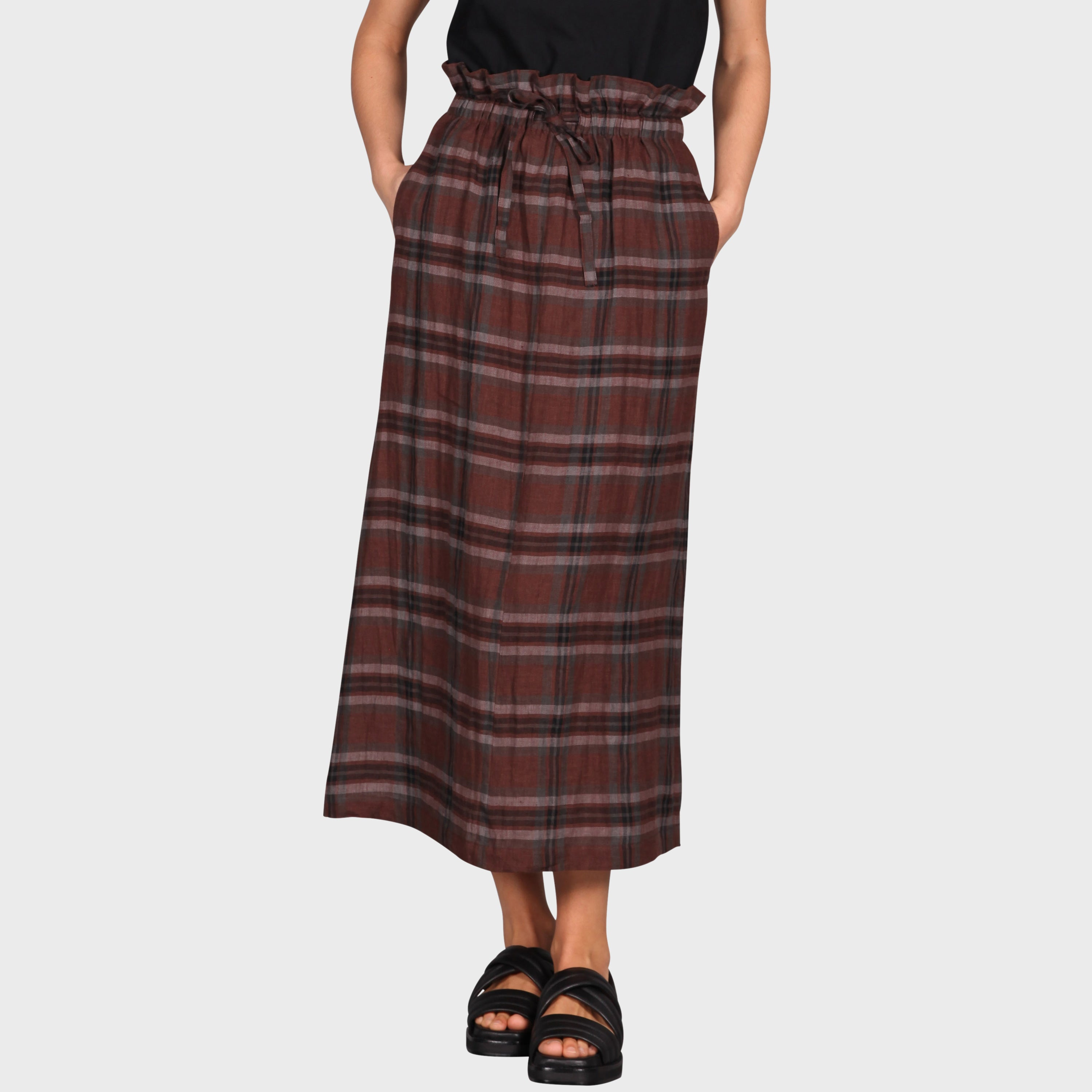 POLLY SKIRT / BROWN-BLACK